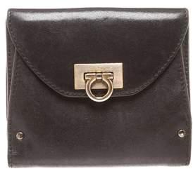 Bvlgari Salvatore Ferragamo Black Gancini Leather Small Wallet.