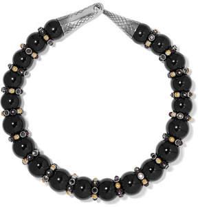 Bottega Veneta Onyx, Silver And Crystal Necklace - Black