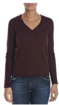 Sun 68 Women's Burgundy Wool Sweater.