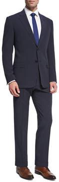 Armani Collezioni Seersucker Wool-Silk Two-Piece Suit, Navy