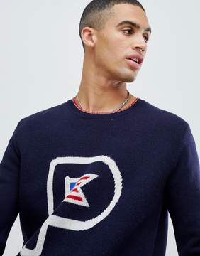 Penfield Flag Knit Crew Sweater Lambswool in Navy