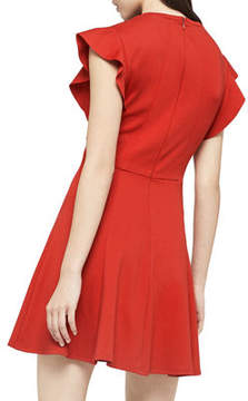 BCBGeneration Flutter-Sleeve V-Neck Dress