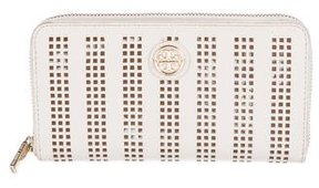 Tory Burch Robinson Saffiano Perforated Wallet - NEUTRALS - STYLE