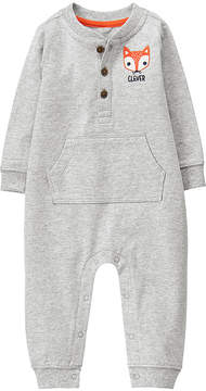 Gymboree Gray 'Clever' Fox Tail Henley Playsuit - Infant