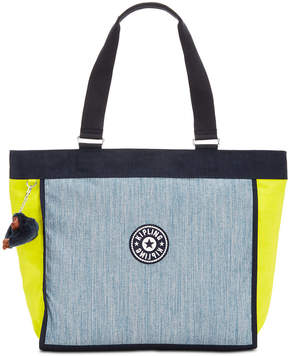 Kipling Shopper Large Denim Tote - INDIGO BLUE COMBO/SILVER - STYLE