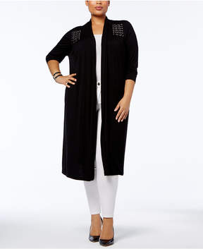 Belldini Plus Size Laced-Detail Open-Front Cardigan