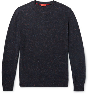 Isaia Elbow-Patch Mélange Cashmere Sweater