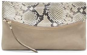 Banana Republic Snake-Effect Italian Leather Foldover Clutch