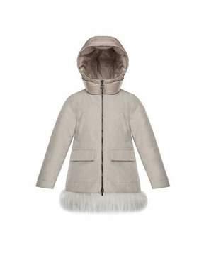 Moncler Chevronne Fur-Hem Long Coat, Size 8-14