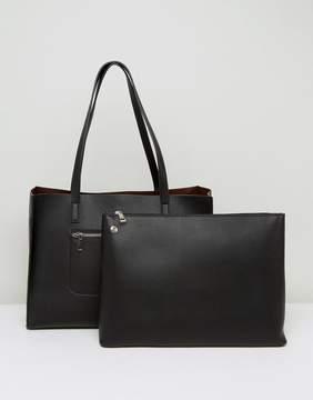 Asos DESIGN Structured Shopper Bag With Zip Front Pocket