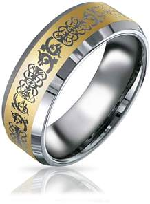 Dragon Optical Bling Jewelry Gold Plated Mens Celtic Tungsten Band Ring 8mm.