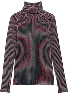Carven Striped Cotton-blend Turtleneck Sweater - Blue