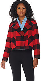 Denim & Co. As Is Studio by Buffalo Plaid Printed Drape Front Jacket