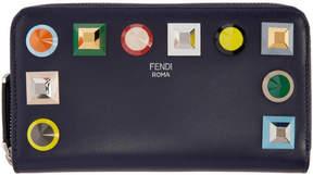 Fendi Blue Rainbow Continental Zip Wallet