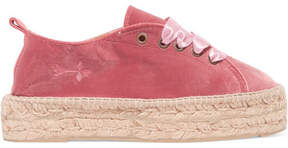 Manebi Lace-up Velvet Espadrilles - Pink