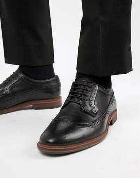 Asos Brogue Shoes In Black Leather With Natural Sole