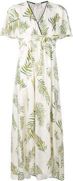 Forte Forte frill-sleeve leaf-print midi dress