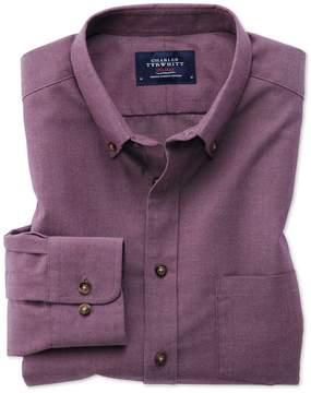 Charles Tyrwhitt Slim Fit Button-Down Non-Iron Twill Purple Cotton Casual Shirt Single Cuff Size Large