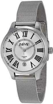 August Steiner Silver Dial Stainless Steel Mesh Ladies Watch