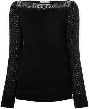 Blumarine knit lace panel top
