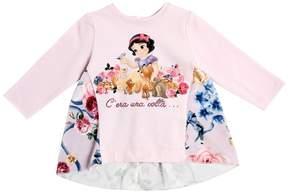 MonnaLisa Snow White Cotton Jersey & Velvet Top