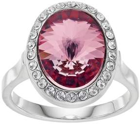 Brilliance+ Brilliance Silver Plated Oval Halo Ring with Swarovski Crystals
