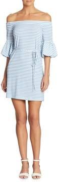 Donna Morgan Women's Striped Off-the-Shoulder Dress