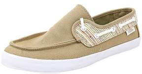 Vans Women's Chauffette Stripes Khaki / White Ankle-High Fabric Fashion Sneaker - 5M