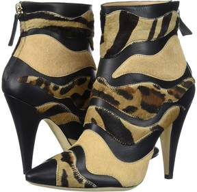 Alberta Ferretti Calf Leather Mixed Animal Ankle Boot, A1566 Women's Boots