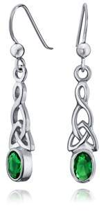 Celtic Bling Jewelry Simulated Emerald Bezel Knot Sterling Silver Drop Earrings.