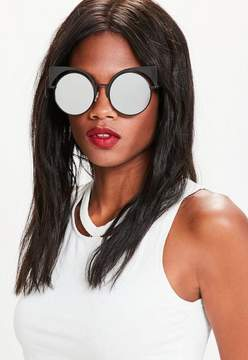 Missguided Black Mirrored Metal Frame Cat Eye Sunglasses