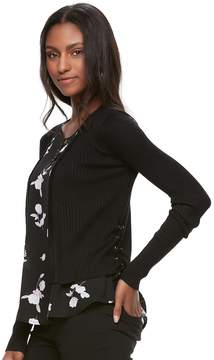 Candies Juniors' Candie's Lace Up Open-Front Cardigan