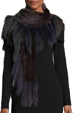 La Fiorentina Knitted Mink Fur Scarf w/ Fox Fur Fringe