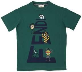 Fendi Logo Printed Cotton Jersey T-Shirt