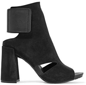 Pedro Garcia Yeca Cutout Leather-trimmed Suede Ankle Boots - Black