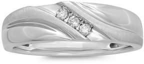 JCPenney MODERN BRIDE Mens 1/10 CT. T.W. Diamond 10K White Gold 3-Stone Slant Ring