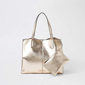 River Island Gold metallic beach tote bag