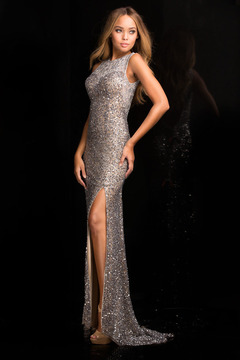 SCALA - 48694 High Neck Sequins Prom Dress with Long Train