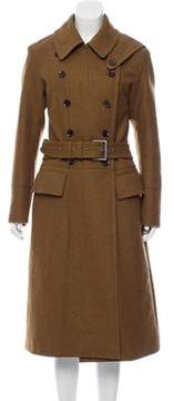 Belstaff Leather-Trimmed Wool Coat