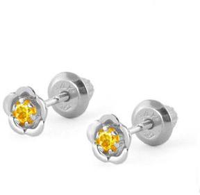 Ice 14K White Gold Citrine Flower Baby Girls' Earrings