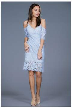 Ark & Co The Bold Shoulder Blue Lace Dress