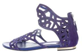 Brian Atwood Suede Laser Cut Sandals