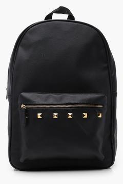 boohoo Black PU Backpack With Gold Studs