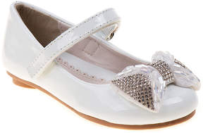 Laura Ashley White Patent Sparkle Bow Ballet Flat - Girls