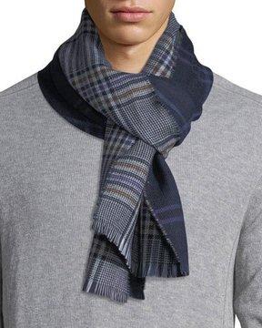 Eton Double-Face Plaid Wool Scarf