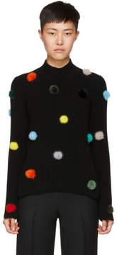 Fendi Black Cashmere Pompom Turtleneck