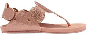 Pedro Garcia Jamee Metallic Textured-leather Sandals - Gold