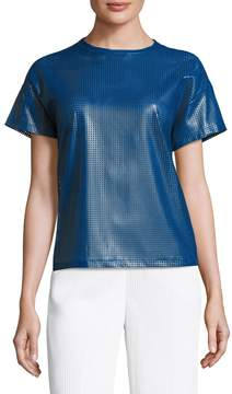 Anne Klein Women's Faux Leather Tee Blouse
