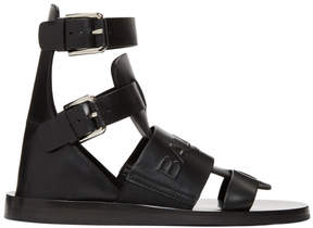 Balmain Black Chris Embossed Logo Sandals