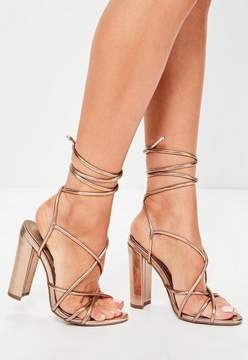 Missguided Rose Gold Multi Strap Sandals